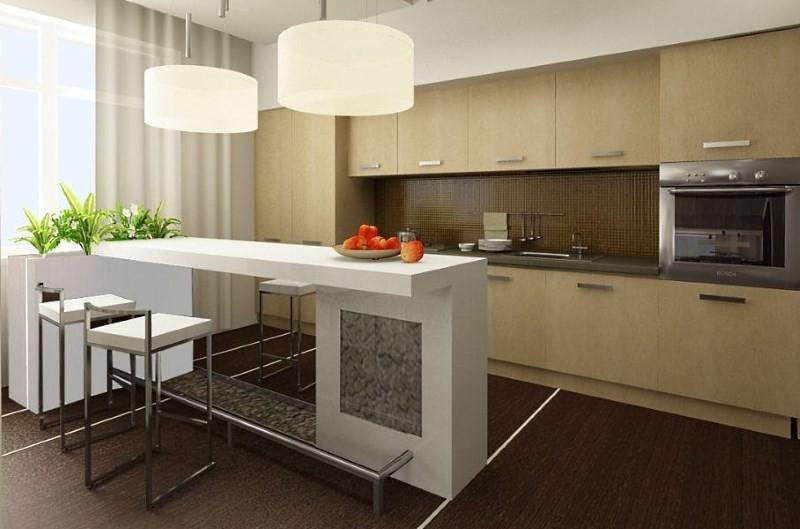 Белая барная стойка между кухней и гостинной