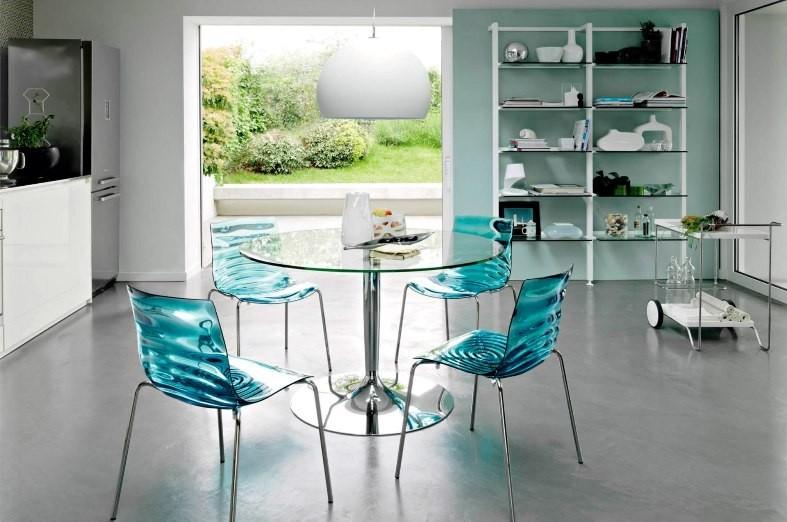 Круглый стол в интерьере баухауз