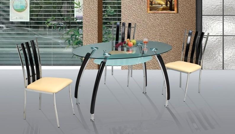 Овальный стеклянный стол для кухни