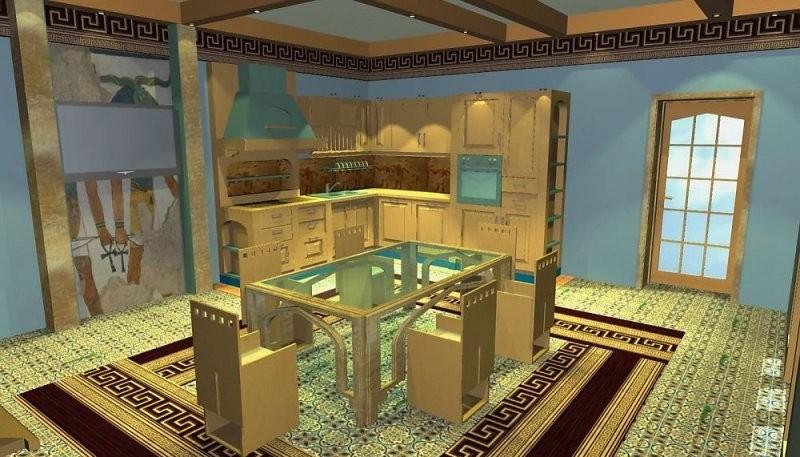 Пример дизайна кухни в египетском стиле