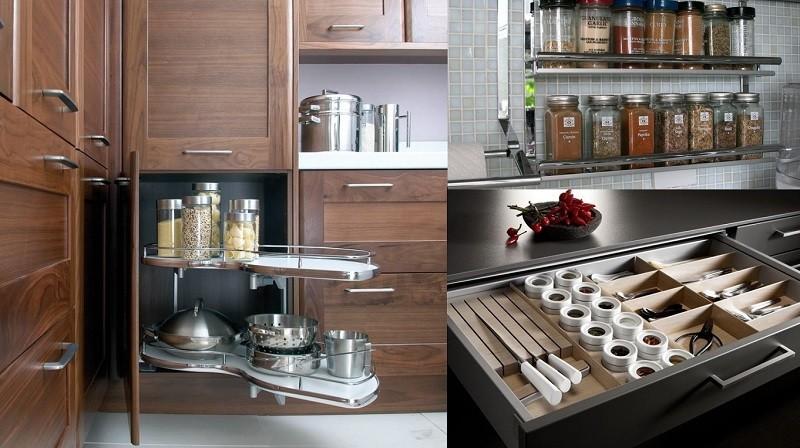 Компактное размещение посуды, приправ и столовых приборов