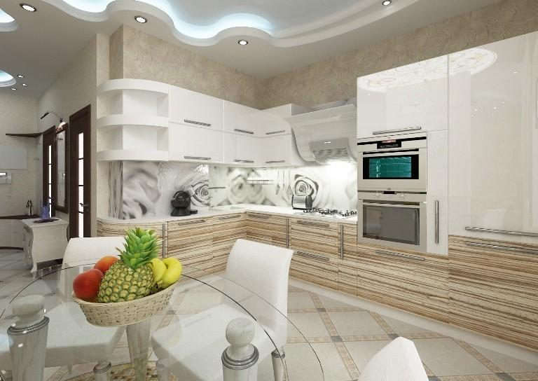 Красивая кухня в светлых тонах