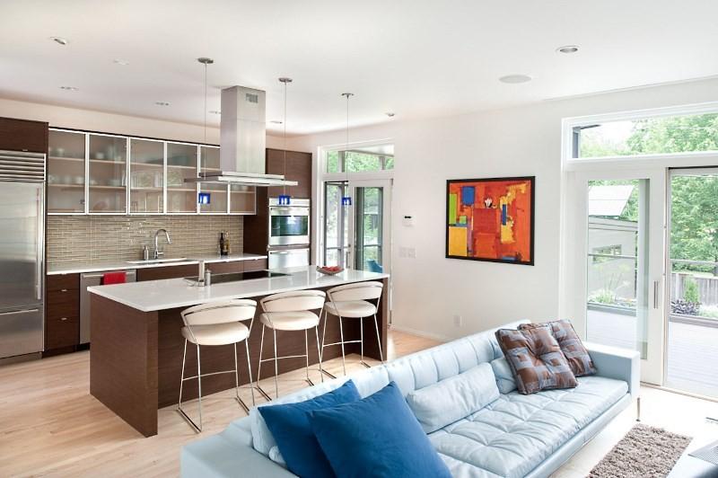 Зонирование пространства на кухне студии