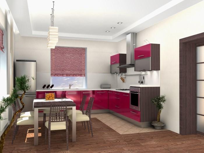 Модная кухня серо-бордовая