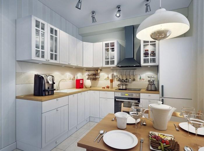Вариант освещения на небольшой кухне