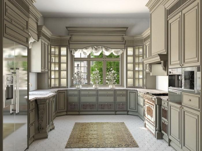 П-образная кухня с окном в классическом стиле
