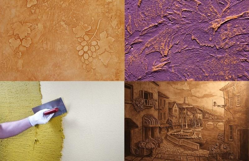 Варианты отделки стен декоративной штукатуркой