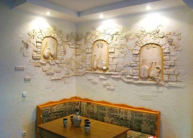 Декоративная штукатурка на стенах в кухне