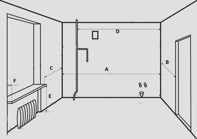 Рисунок помещения для эскиза кухни
