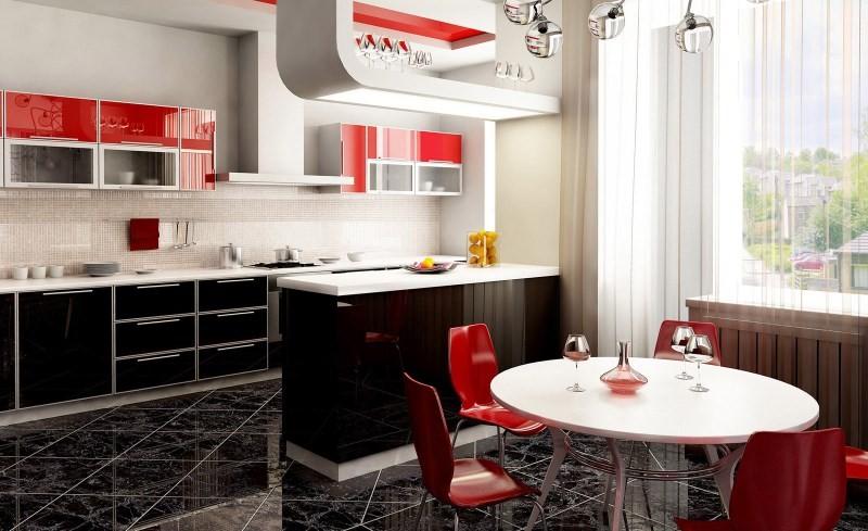 Глянцевая плитка на полу кухни