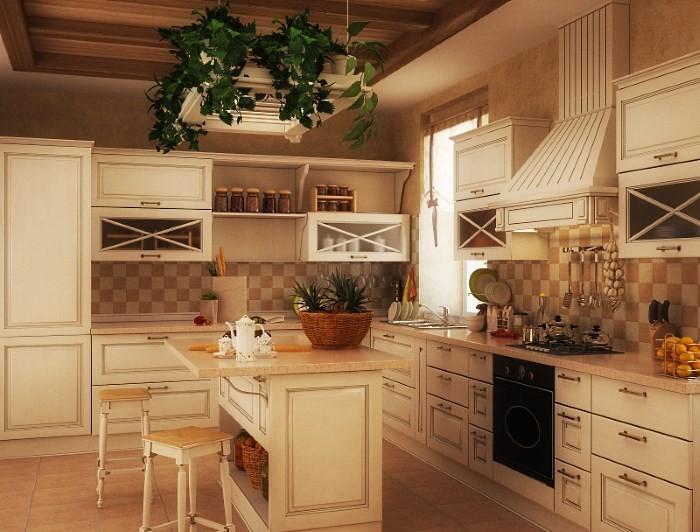Вариант интерьера кухни в деревенском доме