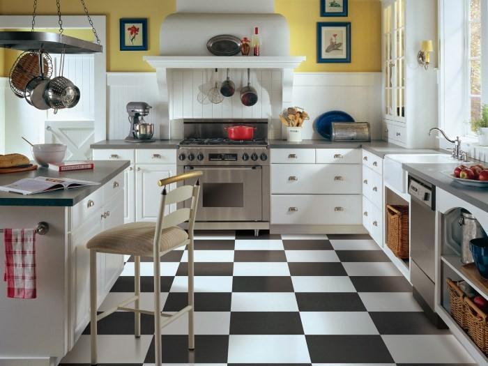 White tile floor kitchen