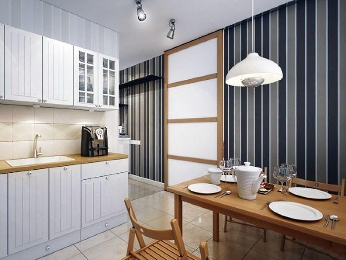Стены в вертикальную полоску в интерьере кухни