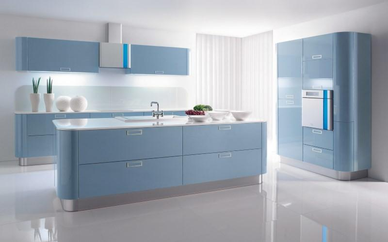 Голубая кухня в стиле хай тек