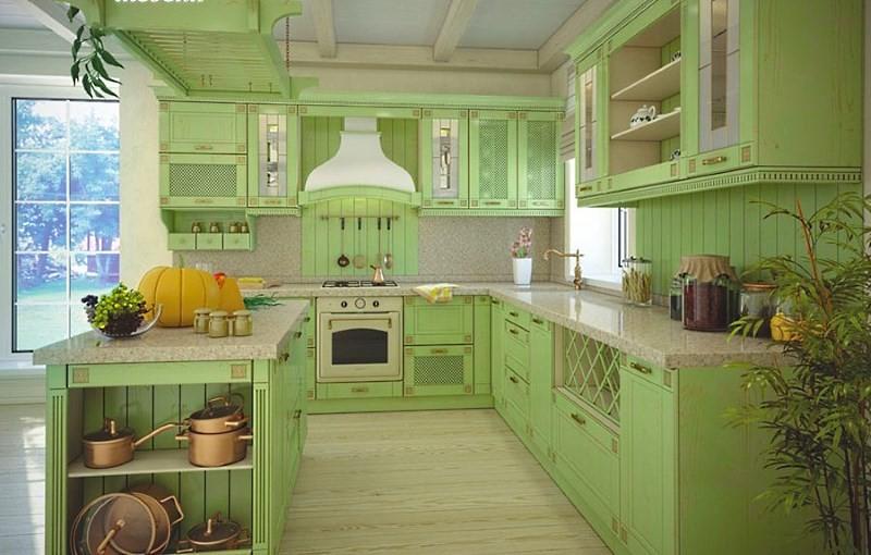 Оливковая кухня в деревенском стиле