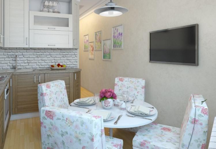 Мягкие стулья в стиле прованс на кухне
