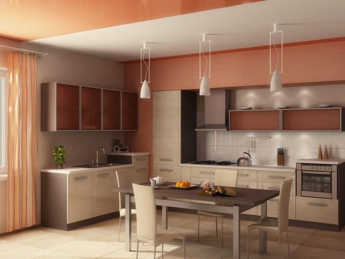 Интерьеры кухни в персиковом цвете