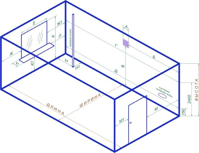 Чертеж помещения кухни