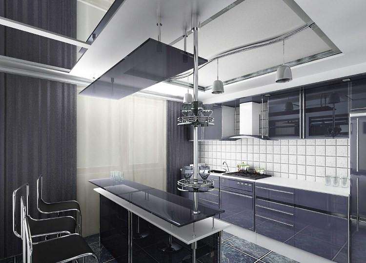 Черно-белая кухня в стиле хай-тек