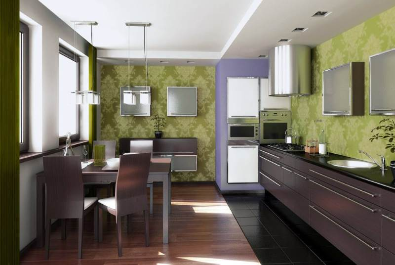 Обои на кухне зеленого цвета