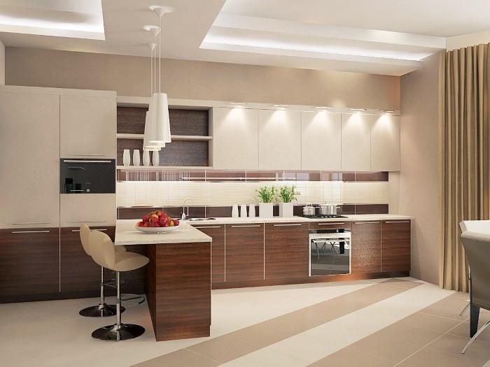 Светлая бежево-коричневая кухня