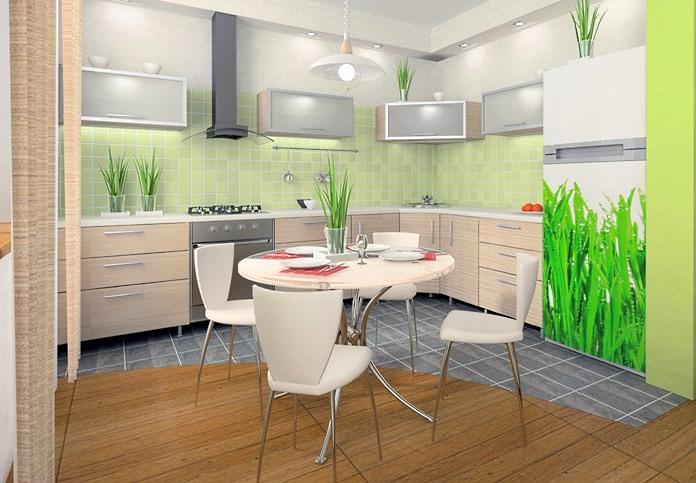 Комбинированный пол на кухне