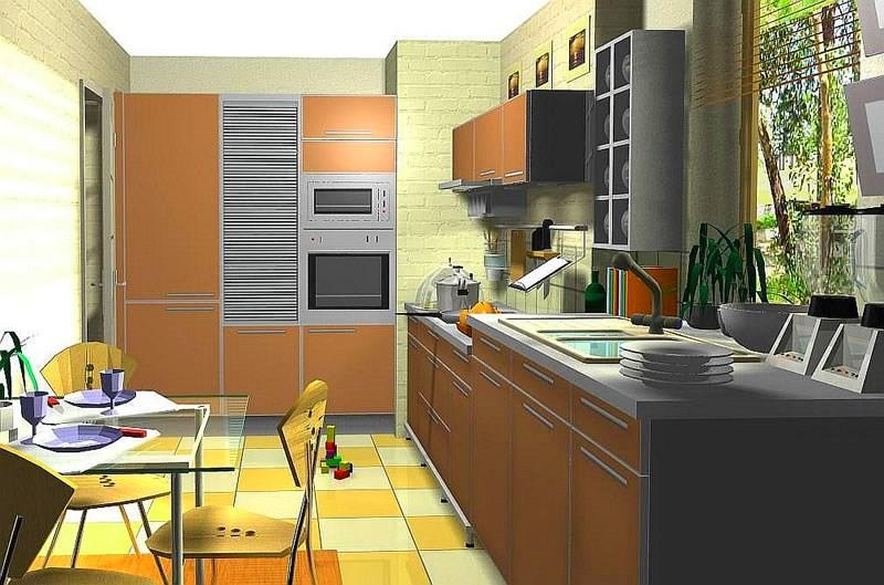Интерьер кухни, созданный в конструкторе