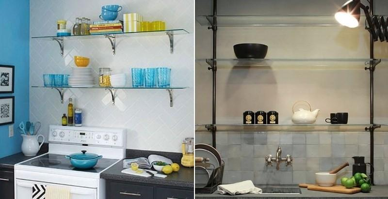 Примеры стеклянных кухонных полочек