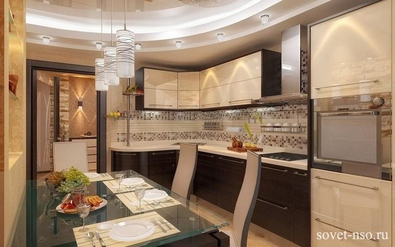 Дизайн кухни бежево коричневых тонах фото