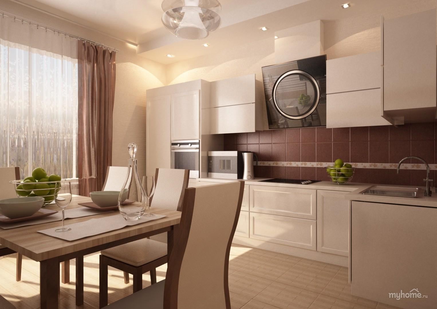 Дизайн кухни в бежевом цвете