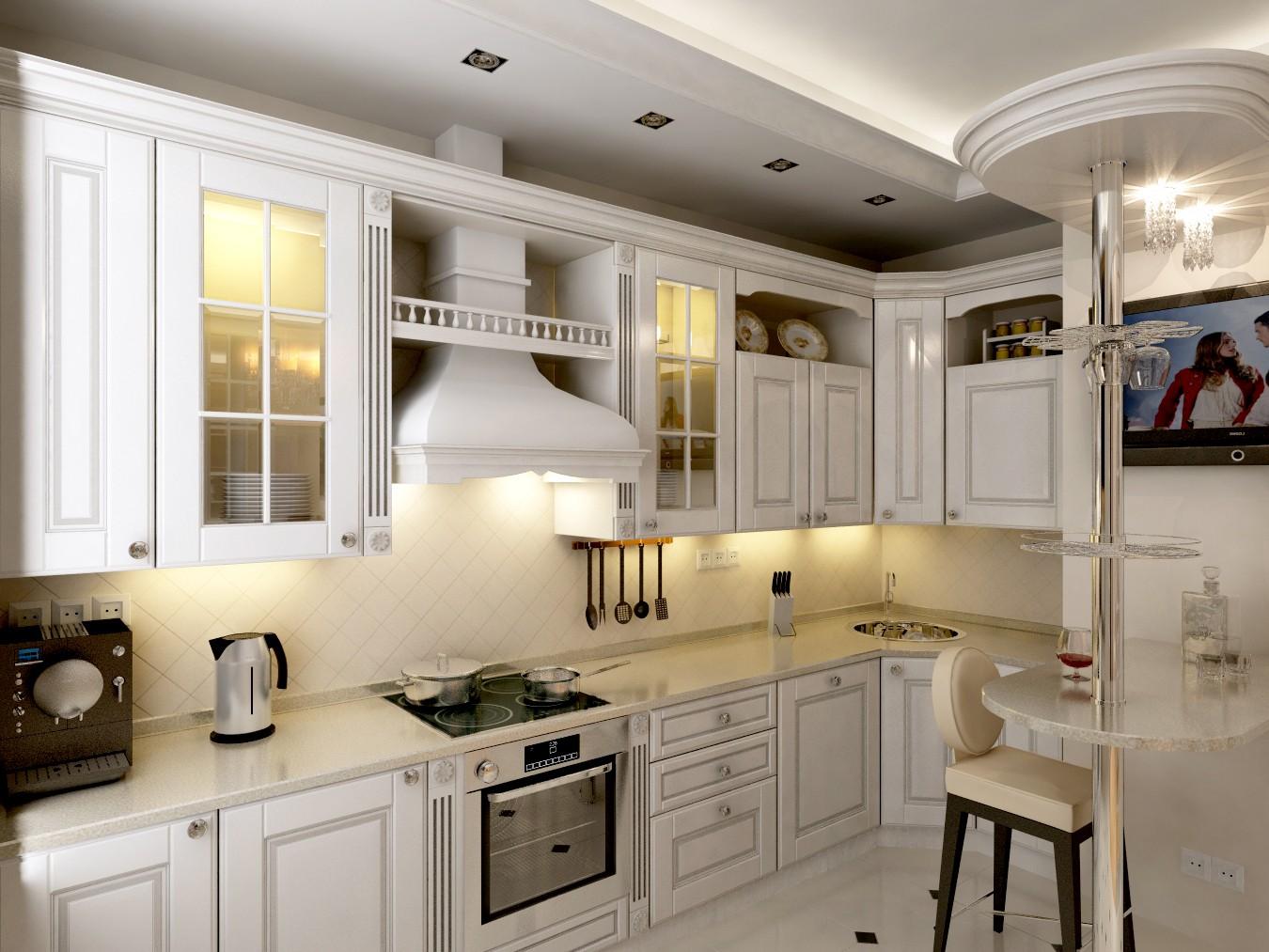 Дизайн белых классических кухонь фото