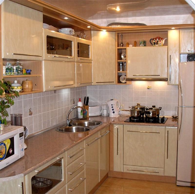 Галерея кухонь бежевого цвета, часть 6.
