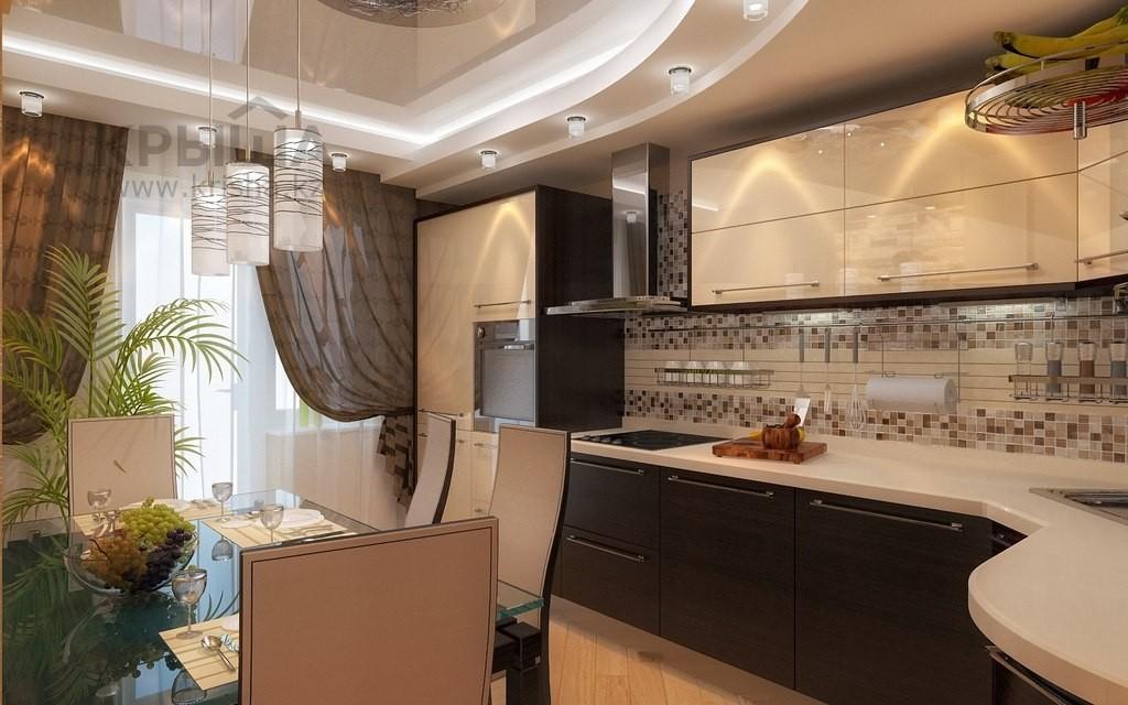 Белая кухня коричневый потолок