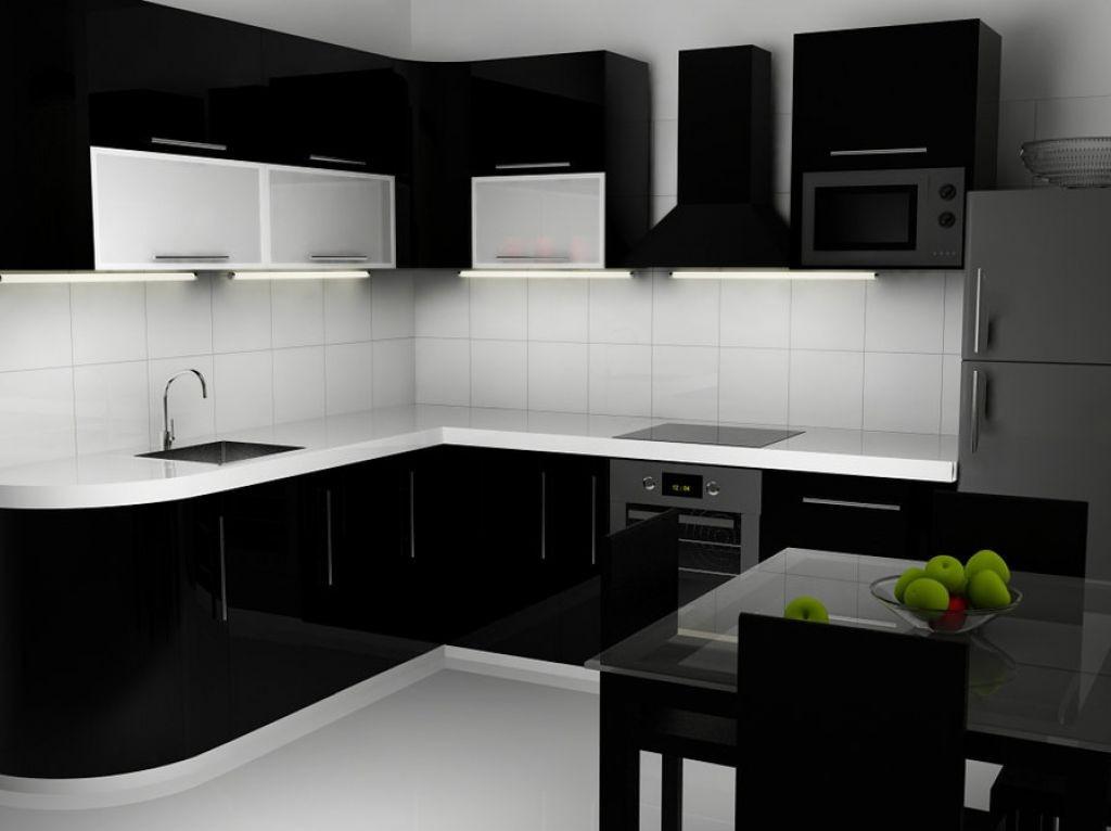 Черно-белая кухня дизайн