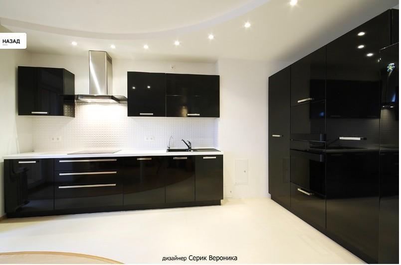 Кухни черные глянцевые фото