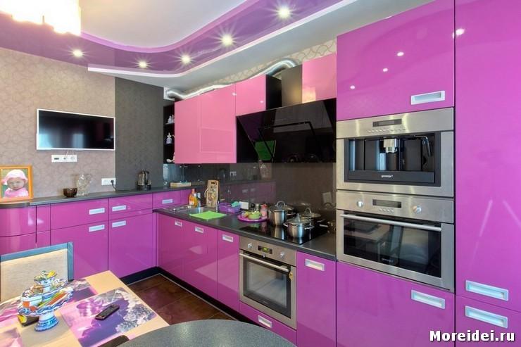 Кухня сиреневая 12 кв м дизайн