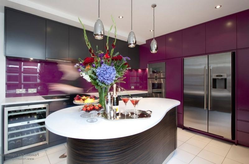 Unique kitchen countertops in purple paint color