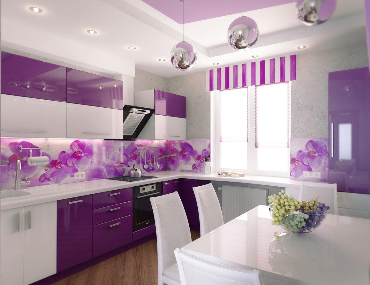 Дизайн кухни фиолетовый