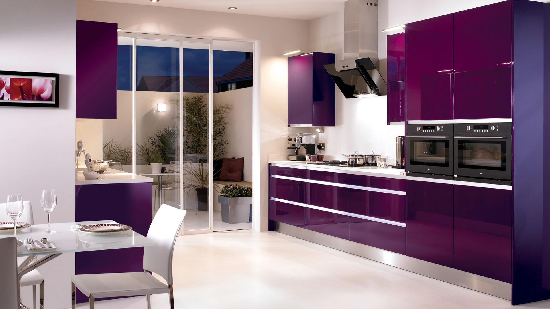 Сочетание цветов с фиолетовым в интерьере кухни фото
