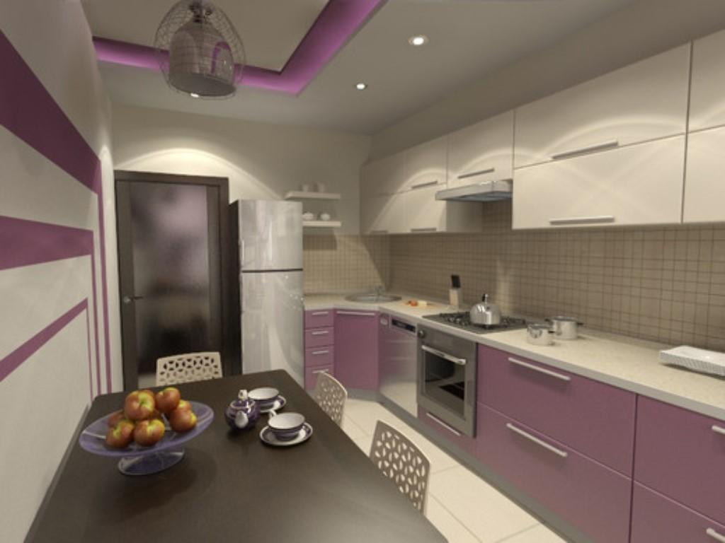 Кухня в фиолетовом цвете дизайн фото