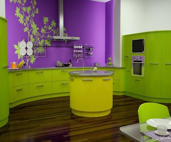 Сочетание жёлтого с салатовым в интерьере кухни фото