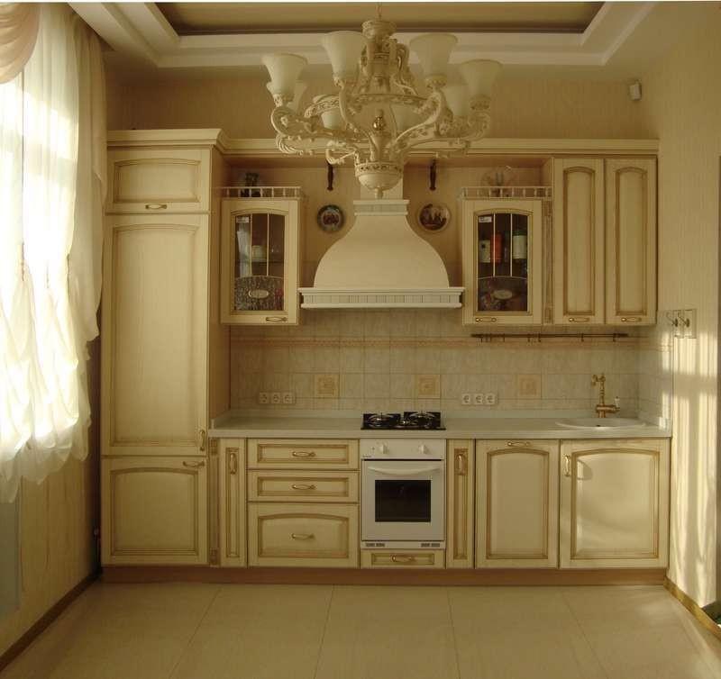 Прямая кухня в классическом стиле дизайн