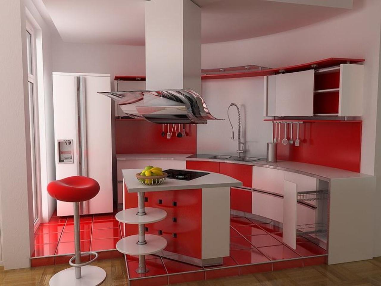 Бело красная кухня интерьер