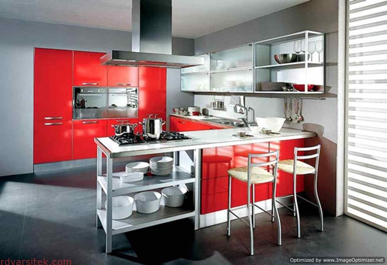 Дизайн барных стоек красного цвета