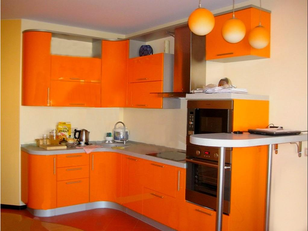 Кухня в оранжевых тонах дизайн