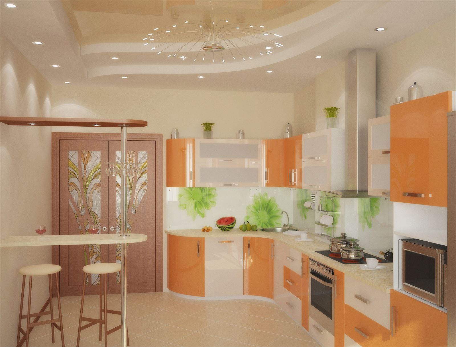 Дизайн оранжевой кухни 9 квадратных метров
