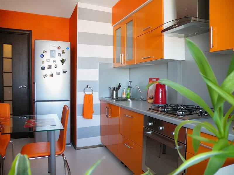 Интерьер кухни оранжевого цвета фото
