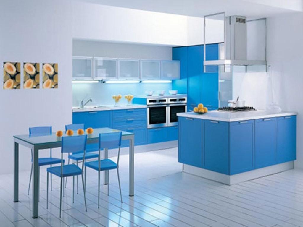 Фото интерьер кухни в синих тонах