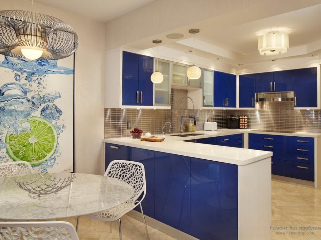 Синяя кухня интерьер фото