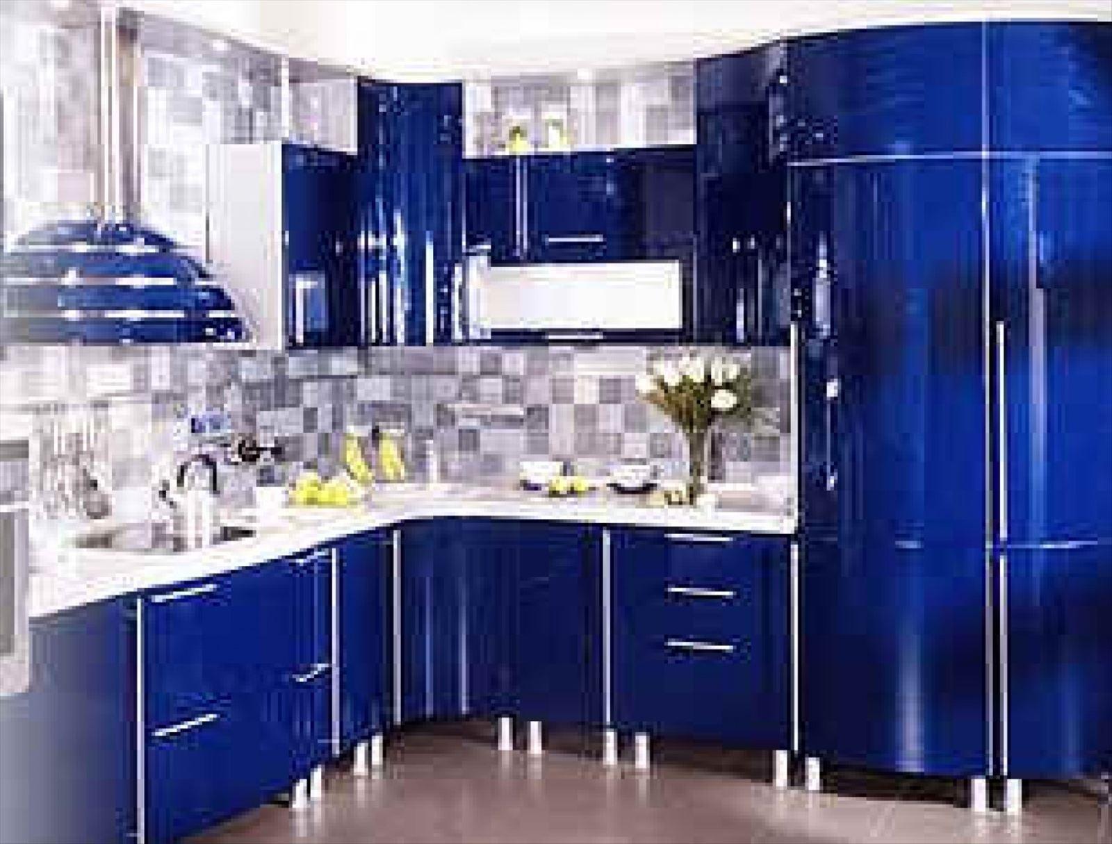 Кухня дизайн в синем цвете